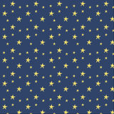 Vector illustration stars on blue background patte. Vector illustration of yellow stars on dark blue background pattern Stock Images