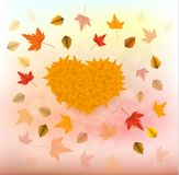 Vector illustration of an yellow sunflower with fall leaves on an autumn bokeh background. Ready elements with background Stock Photography