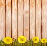 Vector illustration of an yellow sunflowers on an brown wooden background. Ready elements with autumn background typography for yo. Ur flyer banner advertisement Royalty Free Stock Photo