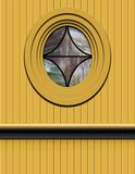 Vintage passenger train with stained glass. Vector illustration of a yelow Vintage passenger train with a stainglass and wood siding royalty free stock image