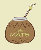Vector illustration of yerba Mate, Calabash with Bombilla. In tribal style stock illustration