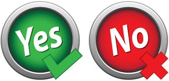 Yes no buttons simple green and red icons. Vector illustration of yes no buttons simple green and red icons on white background vector illustration