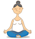 Vector illustration of an yoga granny Stock Image