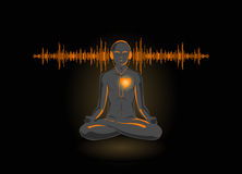 Vector illustration of yoga listening his heart. Isolated on black background Stock Photo