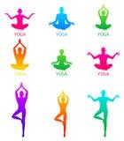 Vector illustration of Yoga poses silhouette. Vector icons of woman silhouettes in yoga poses royalty free illustration
