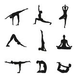Vector illustration of Yoga poses silhouette. Royalty Free Stock Image