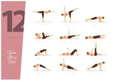 12 Yoga poses to lose belly fat. Vector illustration of 12 Yoga poses to lose belly fat vector illustration