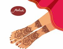 Vector illustration for a yoga studio, tattoo, spas, postcards, souvenirs. Indian traditional lifestyle. Stock Image