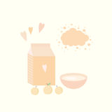 Vector illustration with yoghurt and apricots on a table. Vector illustration with package of yogurt, cup and apricots on a table Royalty Free Stock Images