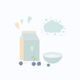 Vector illustration with yoghurt and blueberry. Yogurt with blueberries. Vector illustration package of yogurt, cup and berries on a table Stock Photos