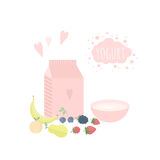 Vector illustration with yoghurt and fruits on a table. Vector illustration with package of yogurt, cup and fruits and berries on a table. Concept healthy Stock Photo