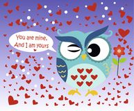 Happy Valentine`s Day! Valentine`s Day card with cute flat blue owl with flower on gradient blue background. Vector illustration. You are mine, And I am yours Stock Photography