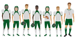 Vector illustration of the young American football players team with coach trainer wearing the uniform. Vector illustration of the young American football Royalty Free Stock Image