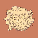 Vector illustration of young beautiful girl with angry wolf`s muzzle. Stock Photography