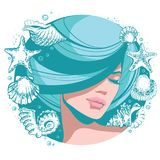 Vector illustration young beautiful girl with closed eyes, blue hair and lush hairstyle. Stock Image