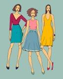 Fashion illustration of beautiful girls. Vector illustration of young beautiful models Royalty Free Stock Photography
