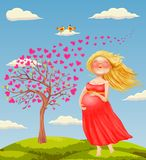 Vector illustration of young beautiful pregnant blonde wom royalty free illustration