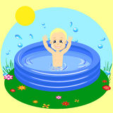 Vector Illustration of a Young Boy Happily Swimming in pool stock illustration
