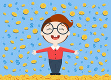 Vector illustration of young business man standing under the money rain Stock Image