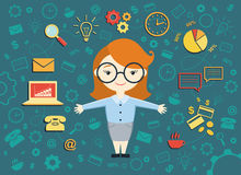 Vector illustration of young business woman Royalty Free Stock Image
