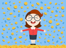 Vector illustration of young business woman standing under the money rain Stock Photography