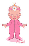 Vector illustration of  young child in a pink Stock Images
