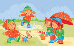 Vector illustration of young children playing Royalty Free Stock Images