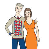Vector illustration of young couple Stock Photo
