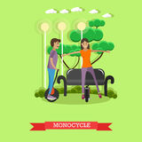 Vector illustration of young couple riding monocycle in flat style Stock Image