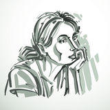 Vector illustration of young elegant dreamy female, art image. B Royalty Free Stock Images