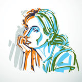 Vector illustration of young elegant dreamy female, art image.  Stock Photos