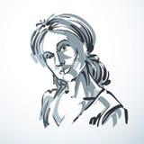 Vector illustration of young elegant female, art image. Black an Stock Photo