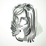 Vector illustration of young elegant female, art image. Black an Stock Photos