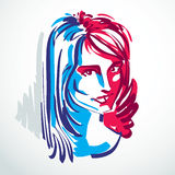 Vector illustration of young elegant female, art image. Colorful. Portrait of attractive lady, face features and personality emotions Stock Photos