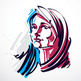 Vector illustration of young elegant female, art image. Colorful. Portrait of attractive lady, face features and personality emotions Stock Image