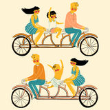 Vector illustration of a young family man woman and child riding on  tandem bike Stock Photography