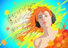 Vector illustration of a young girl in headphones Stock Images