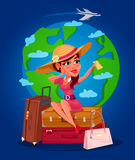 Vector illustration of a young girl - the traveler. Vector illustration of a young girl sitting on a suitcase and holding a ticket Stock Photos