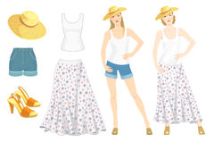 Vector illustration of young girls in clothes for summer holiday. Top, skirt with flower print, sandals, straw hat and blue denim shorts isolated on white Royalty Free Stock Photos