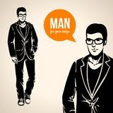 Vector illustration of a young handsome man in casual clothes. Stock Photos