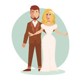 Vector illustration of young happy Just married couple newlyweds bride and groom. Stock Photos
