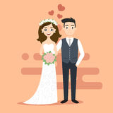 Vector illustration of young happy newlyweds bride and groom. Stock Image