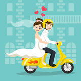 Vector illustration of young happy newlyweds bride and groom Royalty Free Stock Images