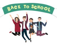 Vector illustration of a young jumping school kids. Back to school template. royalty free illustration