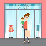 Vector illustration of young lady with her son and shopping bag. Family shopping. Royalty Free Stock Images