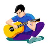 Vector illustration. young man - boy, teenager - play on guitar. University students. Students sitting on grass. Friends vector illustration