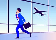 Vector illustration young man hurries on a plane at the airport stock illustration