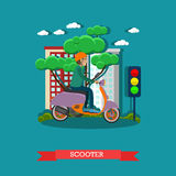 Vector illustration of young man riding scooter in flat style Royalty Free Stock Photography