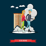 Vector illustration of young man and woman skating, flat style. Vector illustration of young man and woman skating at ice rink. Cartoon characters. Winter Stock Photo