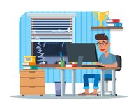 Vector illustration of young man working at computer, flat design Royalty Free Stock Photo